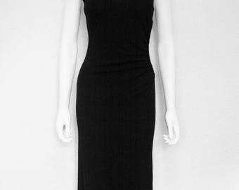 25% off SALE 90s black dress/ sleeveless maxi sunburst gathered dress