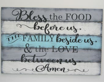 Bless The Food Before Us The Family Beside Us And The Love Between Us Pallet Sign Dining Room Wall Decor Kitchen Wall Decor Rustic Sign