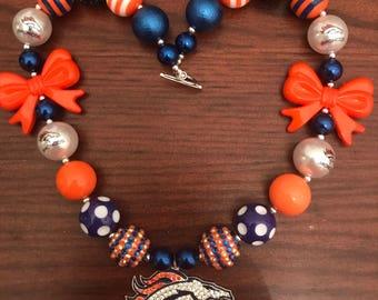 Denver Broncos Sports NFL inspired Orange/Blue Chunky Bubble Gum Necklace (Adult/Teen)