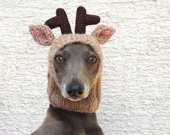 Reindeer Dog Hat - NEW DESIGN! / Reindeer Dog Snood / Christmas Dog Hat / Dog Hat / Hand Knit Dog Hat