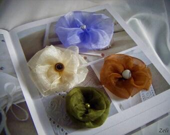 ORGANZA flowers set of 4 sew on any medium