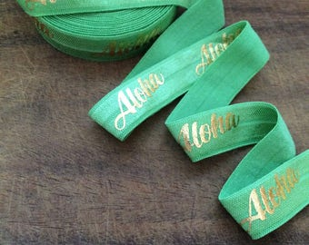 SPRING GREEN with Gold ALOHA Fold Over Elastic, Aloha, 5/8 Fold Over Elastic, Hawaii, Elastic by the Yard, Hawaii Foe, Aloha Foe, Hawaii Foe
