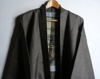 Men's kimono jacket - silk ikat - Japanese vintage - brown - Ukiyo-e painting - Oshima-Tsumugi kimono - WhatsForPudding #2459