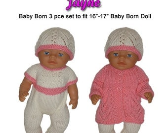 Baby Born Knitting Pattern (JAYNE) fits 16 to 17 inch dolls (pattern only)