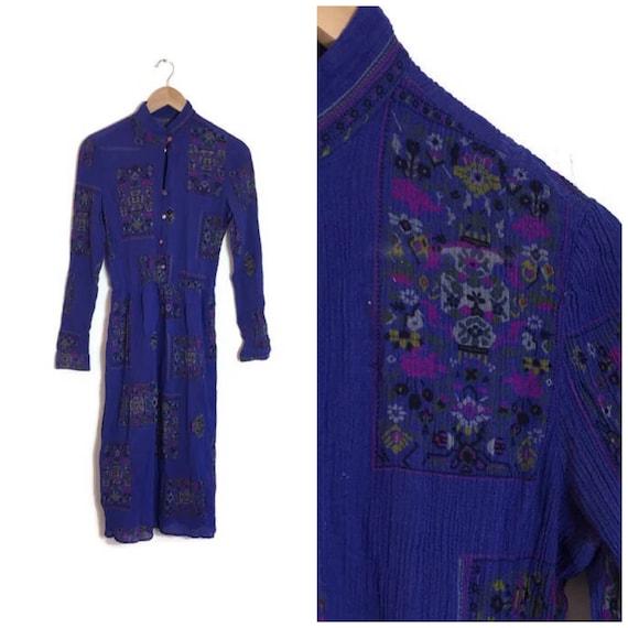 Deep blue 80s crinkle dress / Indian cotton boho dress / petite 80s crinkle cotton vintage dress / indigo blue boho hippie dress / UK 8 10