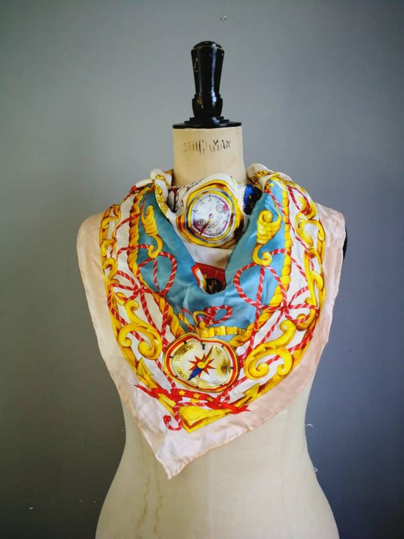 Vintage nautical 90s scarf / silky classic 90s scarf / large square scarf / sailor scarf / large scarf