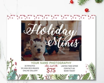 Holiday Mini Session Template, Christmas Photography Template, Photography Marketing Materials, Instant Download, For Photographers, mc176