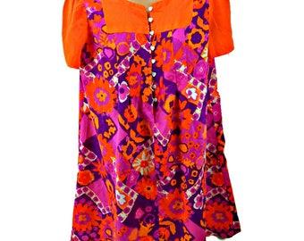 Psychedelic Mini Dress Bright Orange Pink Purple Flower Power