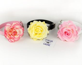 "BIG 4"" Rose Dog Collar Flower, Wedding Collar Accessory (Collar not included), Focus for a Cause"