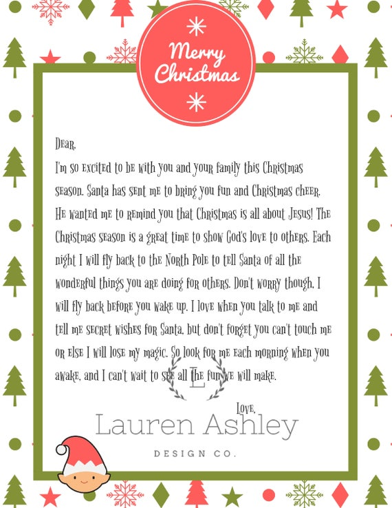Personalized Elf The Shelf Arrival Letter Printable