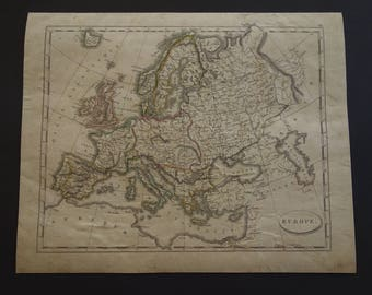 200+ years old map of Europe - Pinkerton 1804 hand colored print of European continent - original vintage maps