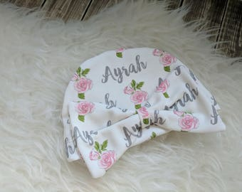 Personalized baby girl pink bow name hat: baby and toddler personalized name hat organic cotton knit baby shower gift