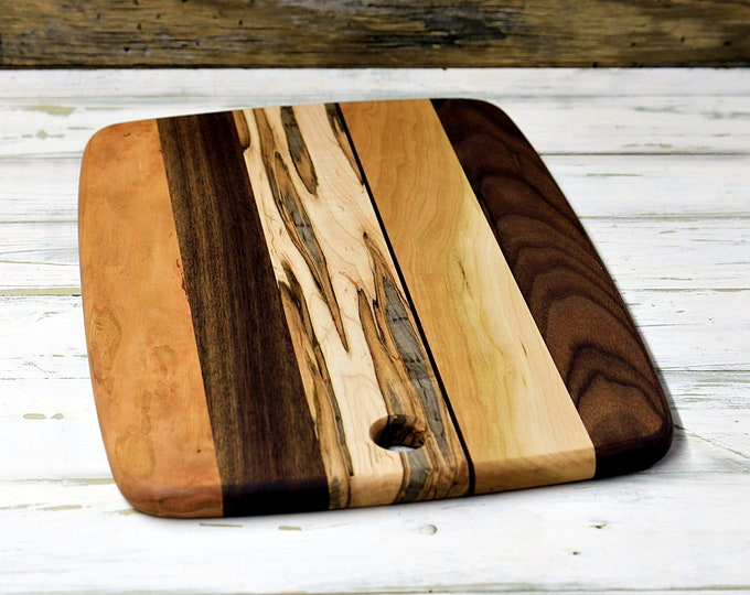 Large Wood Cutting Board, Mixed Woods, Walnut, Cherry & Ambrosia Maple Wood