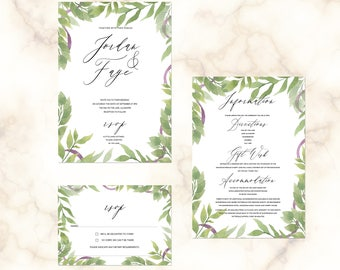 Summer Garden - personalised boho wedding invitations with matching accessories