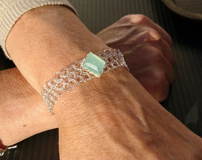 Chalcedony Bangle Bracelet. Crown charm cuff Bracelet. Aqua Gemstone Bangle. Bridesmaid Gift. Wire crochet jewelry. Capricorn women.