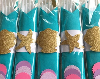 SALE Mermaid Birthday Party , Mermaid Decorations, Under The Sea Party, Party Cutlery, Party Flatware, Under The Sea Party Decorations