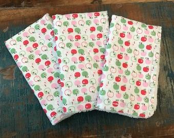 Handmade Burp Cloth Set - Apples - Three Burp Cloths -- by Antique Elephant