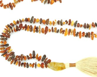 Amber Necklace with Citrine guru bead & hand-made silk tassel