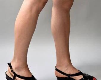 SHOP SALE 1980's black patent Salvatore Ferragamo criss cross wedge sandals • size 8