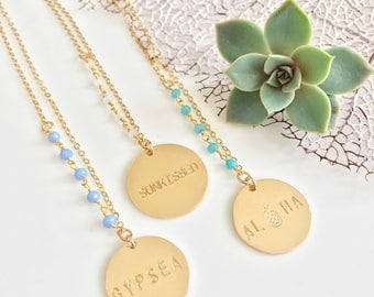 New! Gold Filled Stamped Beaded Disc Necklace