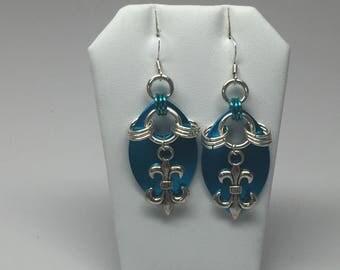 Blue fleur de lis scale mail earrings