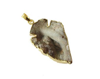 Pendant stone natural gold Agate 40 mm approx. set arrow.