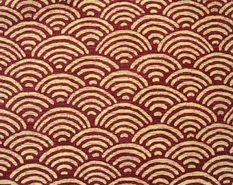 Japanese Traditional Seigaiha Pattern Maroon Cotton Fabric Per 50cm Half Metre CF108