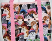 Cat Tote Bag Pink with Gray, Brown and White Cats Wearing Hats