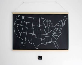 READY to SHIP - United States Chalkboard Map - Black + White US Map - Geography