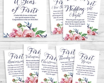 Printed - A Year of Firsts - Wine Gift Basket Tags - Bridal Shower Wine Gift - Watercolor Floral