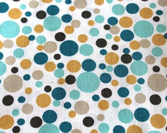 Coupon 50 x 70 cm ochre and turquoise polka dots cotton
