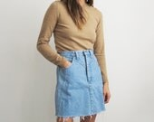 Frayed Denim Skirt // Small 1990's High Waist Jean Skirt // Women's Vintage Clothing