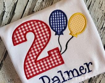 Personalized Balloon Birthday Shirt, Birthday Applique Shirt,Personalized Number Applique Birthday Shirt,Custom Birthday Shirt FREE MONOGRAM