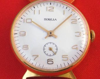 LUXURY Gold plated Very RARE and Unique  vintage wrist watch POBEDA k423