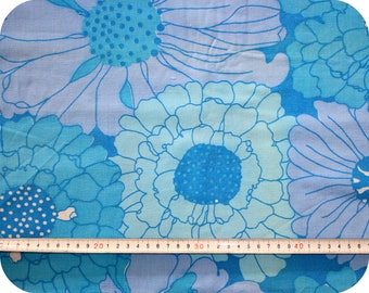 Floral retro vintage fabric - blue, turquoise and purple