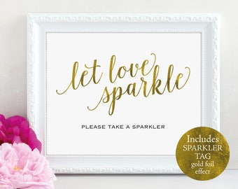 Gold Wedding Sparkler Tag and Sign, Let Love Sparkle, Sparkler Tag, Sparkler Sign, Printable Sparkler, PDF Instant Download, MM01-3