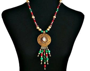 African Necklace, Tribal Brass Medallion Statement Necklace, African Jewelry, Ethnic Jewelry, Bohemian Jewelry