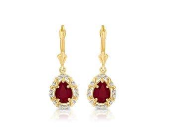 14k solid gold pear shape diamond and ruby earrings on fleur de lis leverbacks