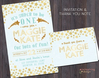 Supergirl Stars Birthday Party Invitations and/or Thank You Notes with Envelopes | Super to be One