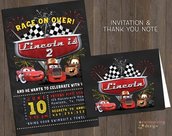 Cars Chalkboard & Fireworks Birthday Invitations and/or Thank You Notes with Envelopes