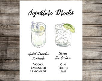 Watercolor Signature Drink Sign