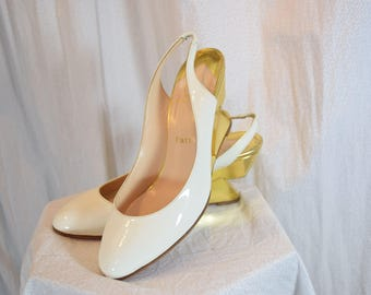 1990 Christian Louboutin Bridal Deco Wedge Cream Patent Leather Italy Gold