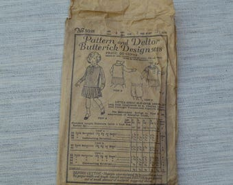 1919 Vintage Child's Dress Pattern 5018 by Deltor and Butterick