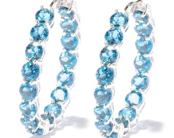 """Sterling Silver 10.50ctw London Blue Topaz Hoops Earring  1.25""""L"""