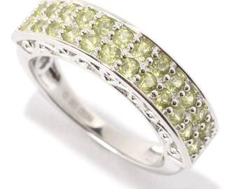 Platinum Over Sterling Silver 0.9ctw Peridot Band Ring SZ 7,8