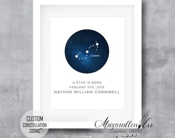 Dorm Decor - Constellation Star Map - Zodiac Constellations Print - Wall Decor - Constellation Wall Print - Anniversary Gifts - Dorm Room