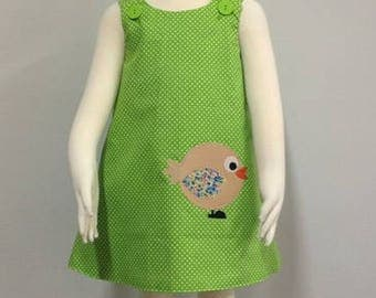Girls reversible lime green polkadot Birdy pinafore dress