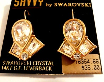 Savvy by Swarovski Signed 14 kt Gold Filled  Lever-back Earrings with Clear Crystals (D)