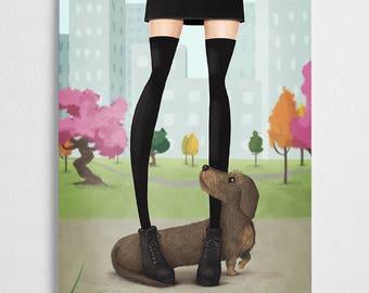 Dachshund art print, doxie illustration, dog poster // Doxielove