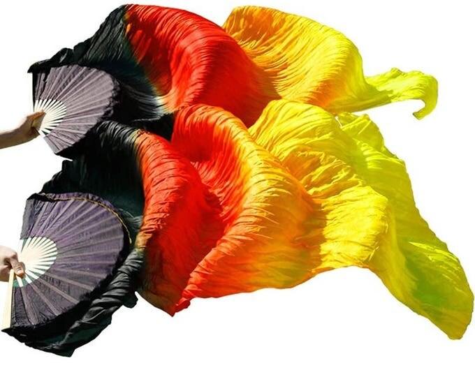 Silk Dance Fans // Black Orange Yellow